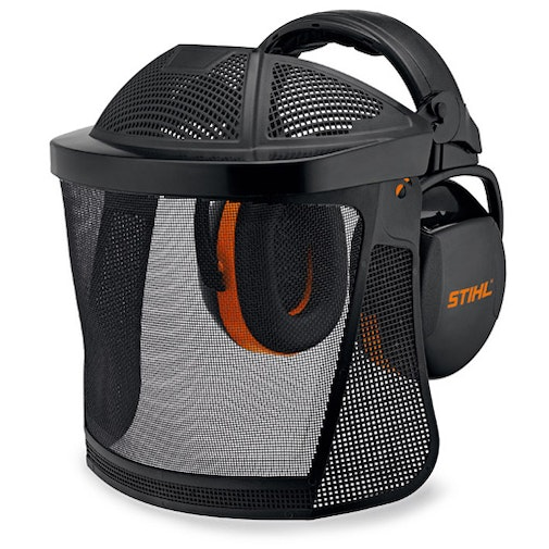 Face/ear protection with nylon mesh visor