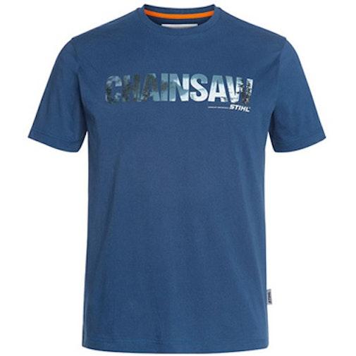 T-Shirt Motorsäge, Farbe Blau