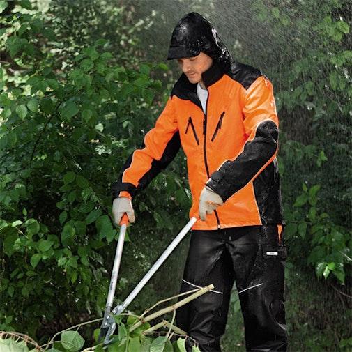 Wetterschutzjacke RAINTEC, schwarz/warnorange